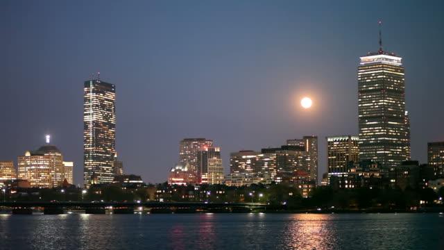 Full moon over Boston's Back Bay video