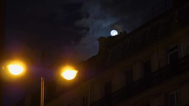 Full moon over Champs Elysees Paris France mansard roof