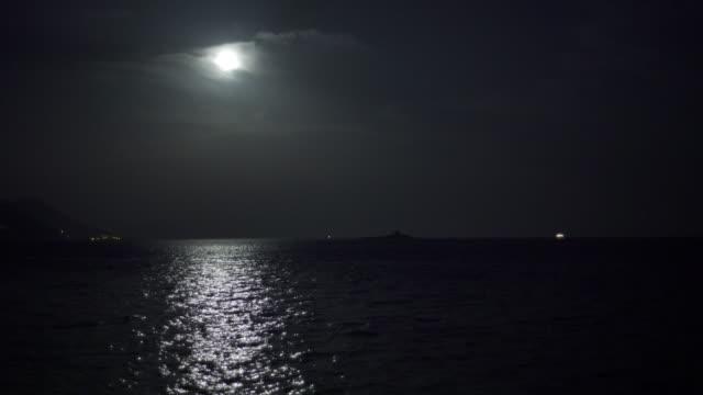 Full moon over Mediterranen Sea video