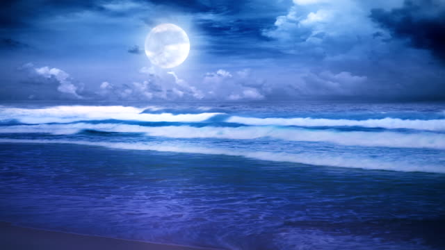 full moon over the night sea video