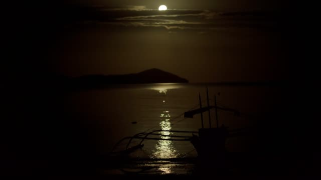 Full moon over the sea Full moon over the sea recreational boat stock videos & royalty-free footage