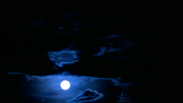 Full Moon rising over cloud video
