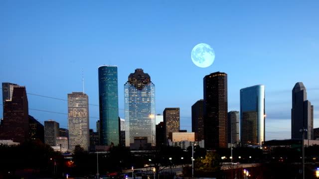 Full moon rising over Houston, Texas