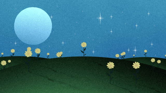Full Moon Stars And Flowers In Paper cut Animation