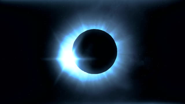 Full solar eclipse. The Moon mostly covers the visible Sun creating a diamond ring effect. This astronomical phenomenon can be seen as a sign of the End of the World. video