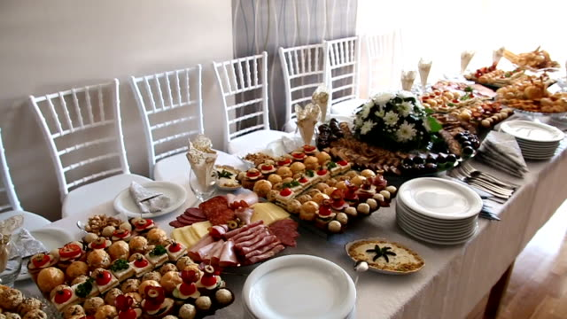 full table of delicious food - buffet video stock e b–roll