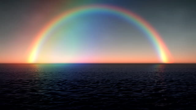 Full Tropical Ocean Rainbow with Calm Sea Sunset LOOP video