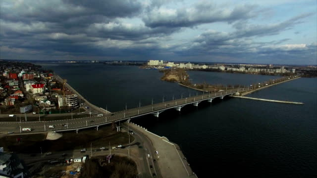 FullHD Aerial shot of Voronezh with view of the River Voronezh and bridge video