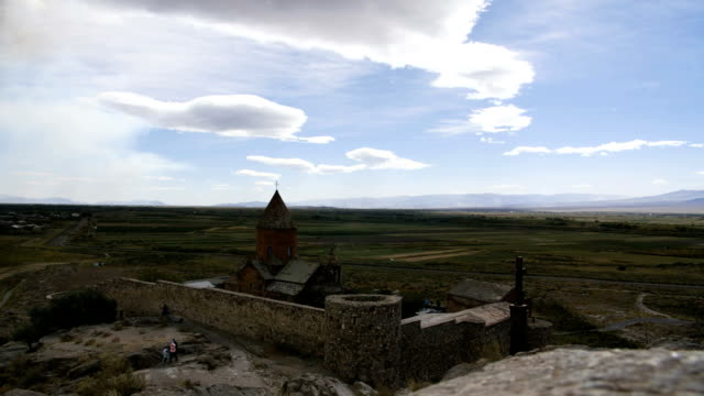 FullHD clouds timelapse of monastery. Landmark in the field. Famous place video