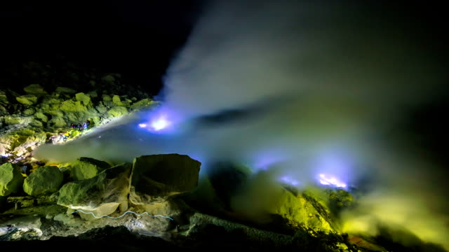 FullHD Timelapse. Blue flame of gas in the crater of the volcano Ijen. East Java, Indonesia - 25 July 2015 video