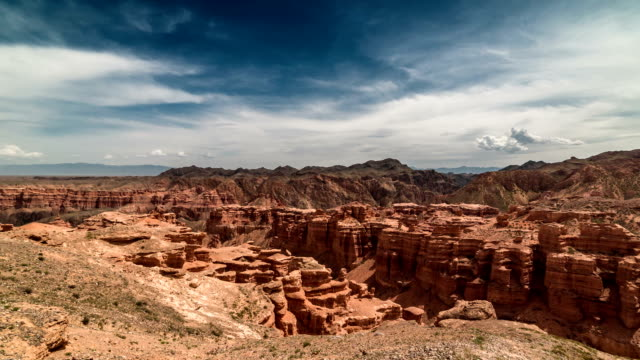 FullHD TimeLapse. Charyn grand canyon and mountains in Kazakhstan video