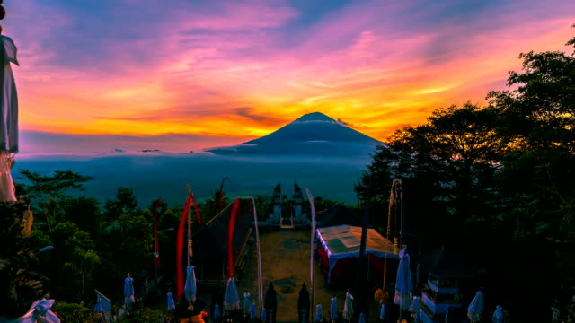 FullHD Timelapse. Sunset on the background volcano Gunung Agung. 15 July 2015, Bali, Indonesia video