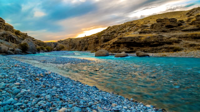 FullHD Timelapse. The river in the canyon at sunset video