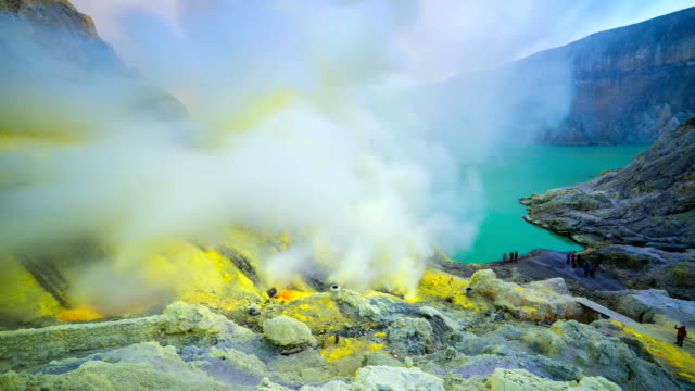 FullHD Timelapse. The sulfur fumes in the crater of an active volcano Ijen. East Java, Indonesia - 25 July 2015 video