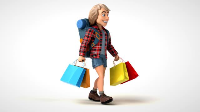 Divertido mochileiro de desenho animado 3D andando - vídeo
