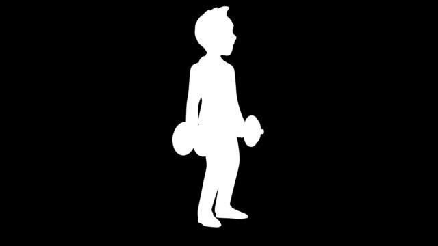 Fun 3D cartoon business man with weights video