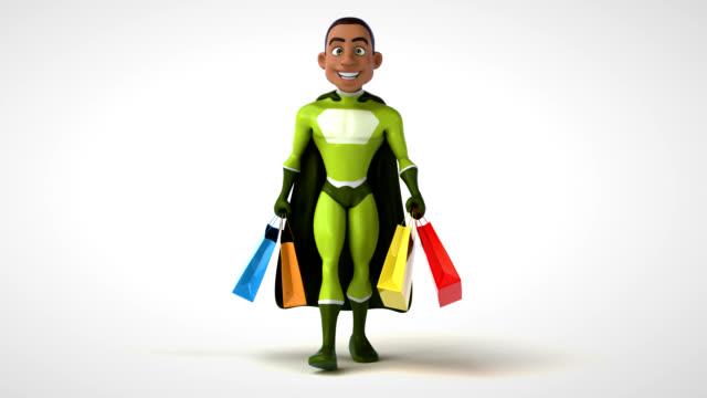 Fun 3D cartoon superhero walking - video