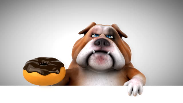 fun bulldog - 3d animation - clip art video stock e b–roll