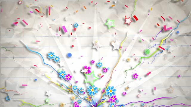 fun celebration background - party paper (full hd) - linjerat papper bakgrund bildbanksvideor och videomaterial från bakom kulisserna
