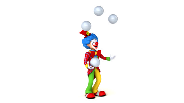 fun clown - 3d animation - clip art video stock e b–roll