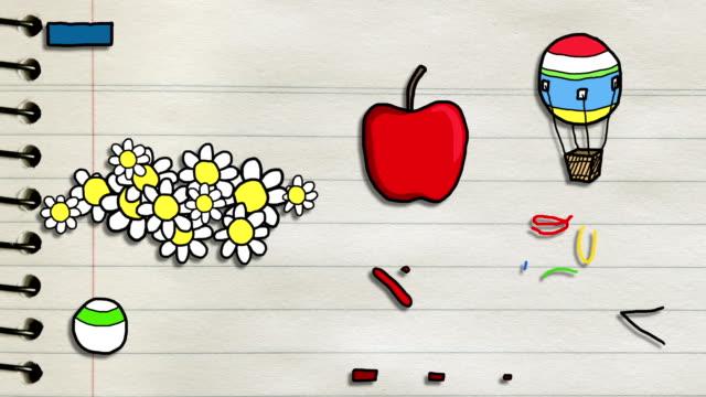 веселые цветные рисованные эскизы-анимированные#2 - kids drawing стоковые видео и кадры b-roll