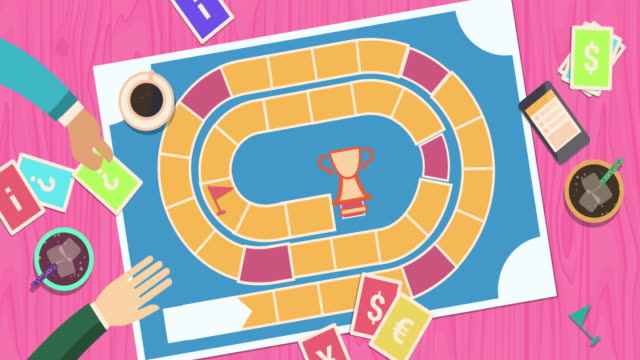 vídeos y material grabado en eventos de stock de una compañía divertida de personas activas está jugando un juego de mesa. - tablón