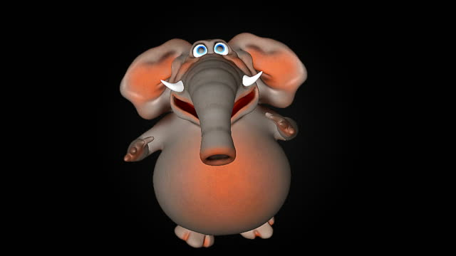 fun elephant cg animation - clip art video stock e b–roll