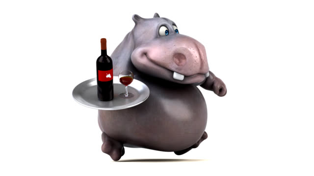 Fun hippo running - 3D Animation video