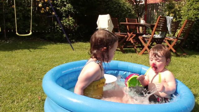 Fun in Paddling Pool on a Sunny Day video