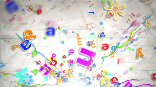 Fun Kids Background Loop - Alphabet Letters On Paper HD video