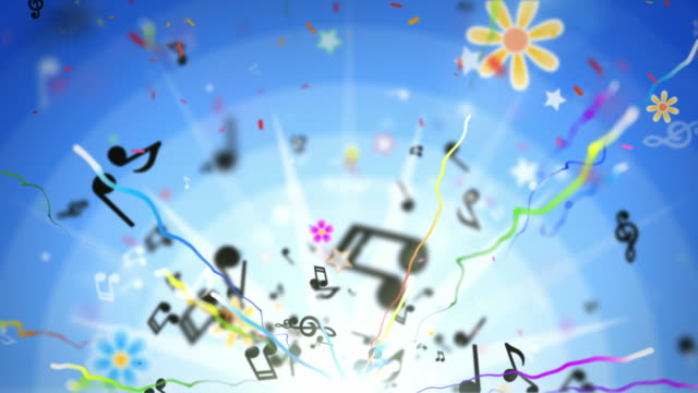 stockvideo's en b-roll-footage met fun kids background loop - musical notes blue (full hd) - background baby