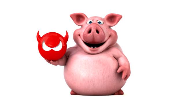 fun pig - 3d animation - antivirus video stock e b–roll
