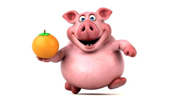 Fun pig running - 3D Animation video
