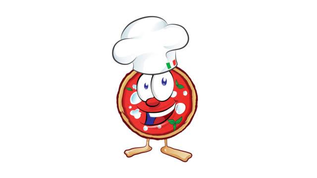 zabawna kreskówka na pizzę z kapeluszem i kciukiem w górę - kultura włoska filmów i materiałów b-roll
