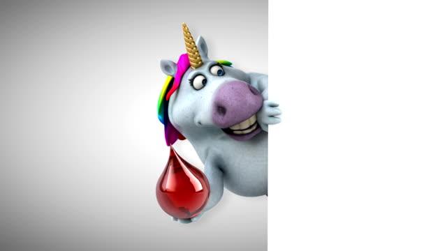 fun unicorn - 3d animation - mitologia video stock e b–roll