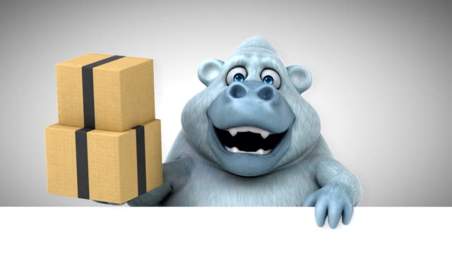fun yeti - 3d animation - bigfoot video stock e b–roll