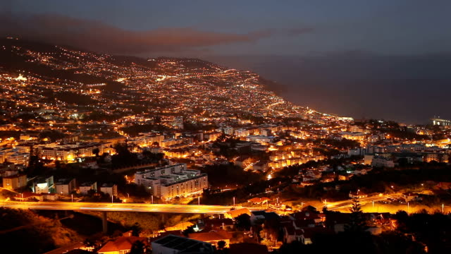 Funchal aerial panoramic sunset view timelapse Funchal aerial panoramic sunset view timelapse. Funchal is the largest city and the capital of Madeira island region. funchal stock videos & royalty-free footage