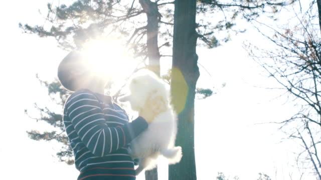 変な少年は、空気中の彼の犬をスローします。 - 愛玩犬点の映像素材/bロール