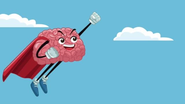 roliga hjärnan tecknad hd animation - superhjälte isolated bildbanksvideor och videomaterial från bakom kulisserna