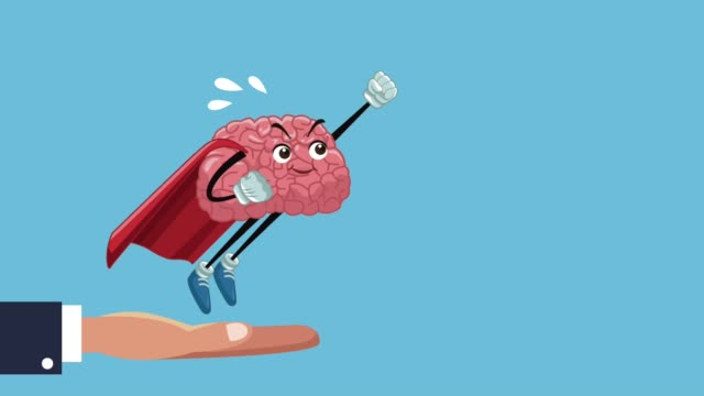 Funny brain cartoon HD animation Hand holding funny superhero brain cartoon High Definition animation colorful scenes cerebellum stock videos & royalty-free footage