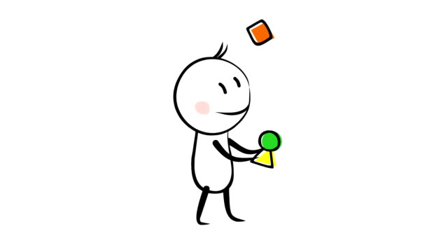 funny character juggling with figures animation - характеры стоковые видео и кадры b-roll