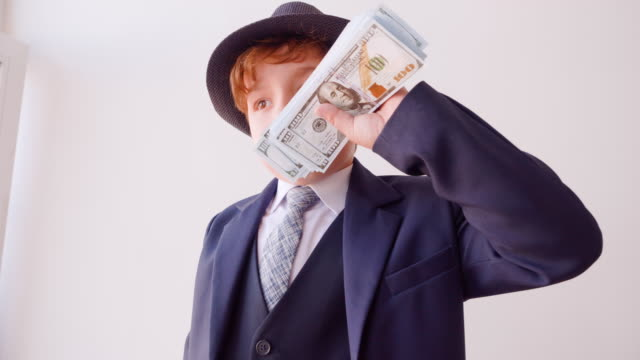 Funny Child Businessman Sniff Money Role Play