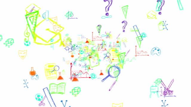 面白いカラフルな学校の記号ズームアウトフル hd ループ - 図面点の映像素材/bロール