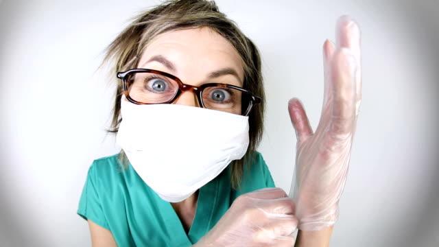 Funny Fisheye Nurse Putting Gloves On