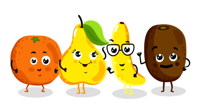 funny fruit isolated cartoon characters - icon set healthy video stock e b–roll