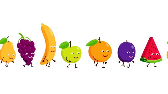 面白い果物はお互いの後に行く - ぶどう イラスト点の映像素材/bロール