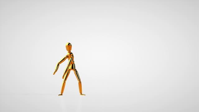 Funny golden mannequin robot style dancing, seamless loop, white studio