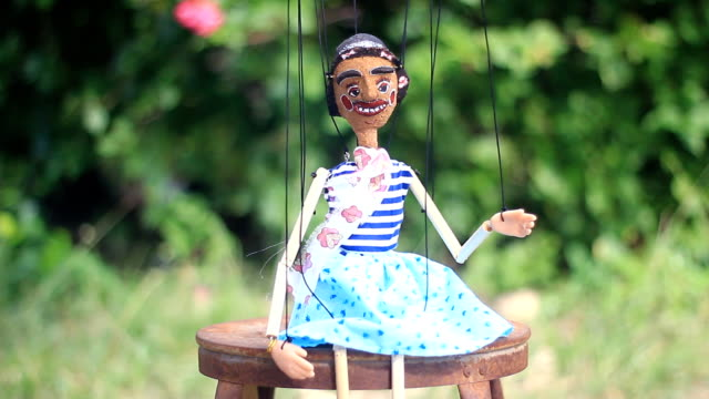 Funny lady in Traditional Thai String Puppet Traditional Thai String Puppet marionette stock videos & royalty-free footage