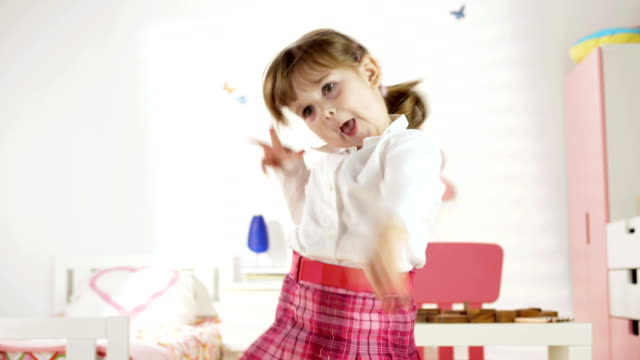 HD: Funny Little Girl Dancing In Her Room video