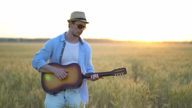 おかしい男は小麦の分野でギターを弾いて模倣します。 ビデオ